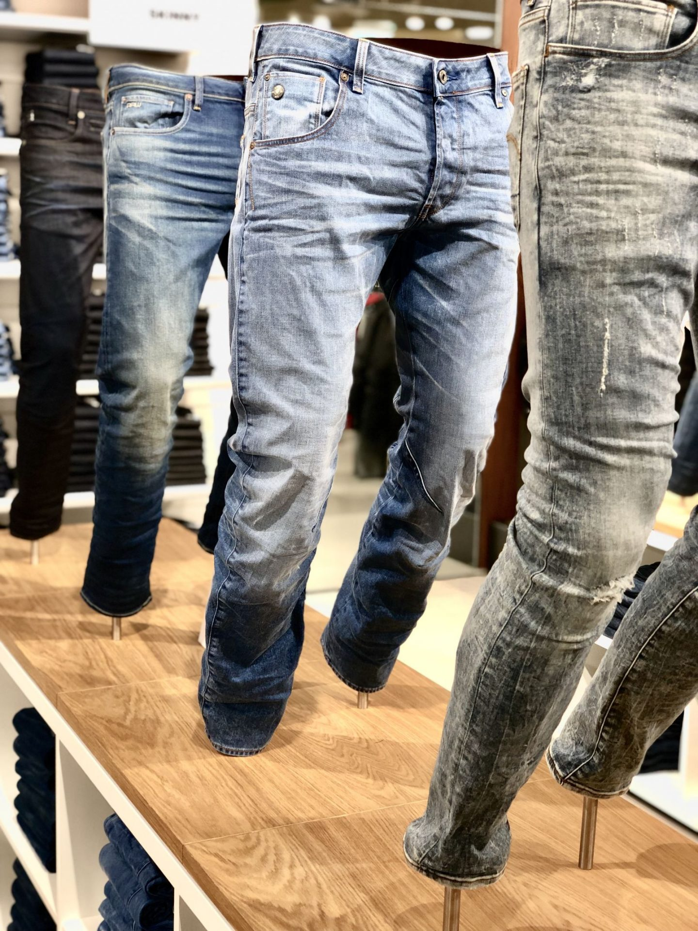 Blue Jeans on display at G-Star Raw Intu Metrocentre in December 2018 at the store launch (Fashion Voyeur Blog)