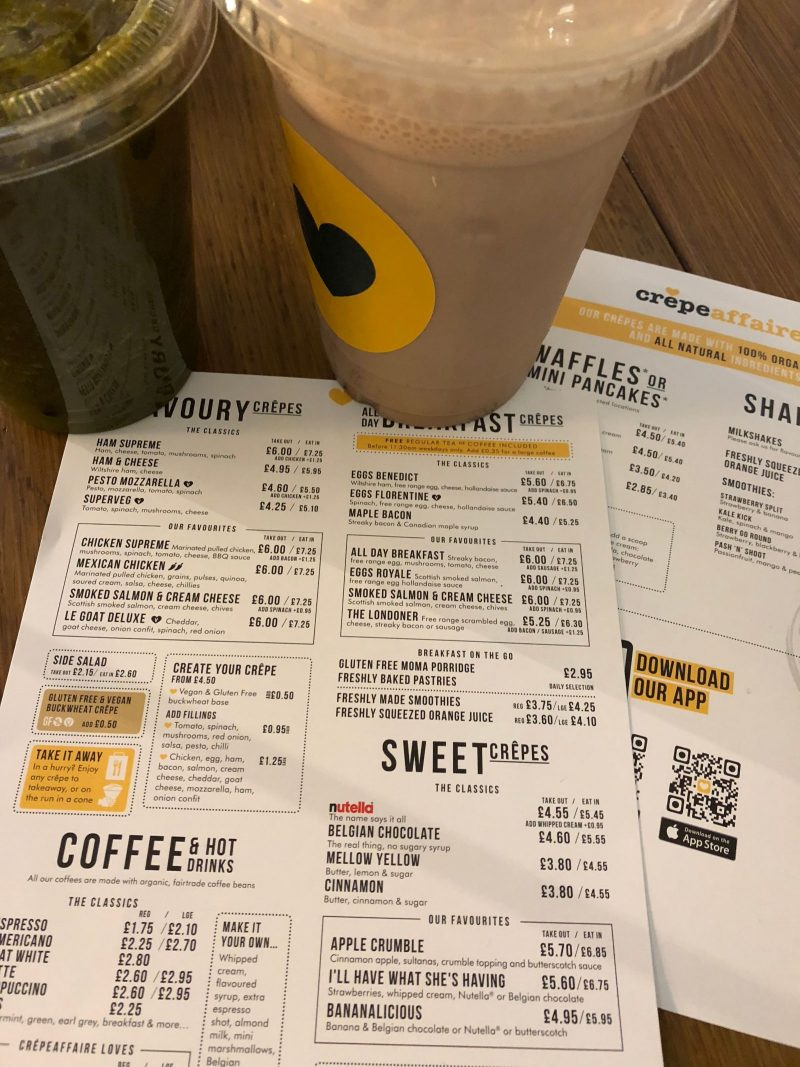 Menu and drinks at Crepeaffaie Newcastle Intu Eldon Square