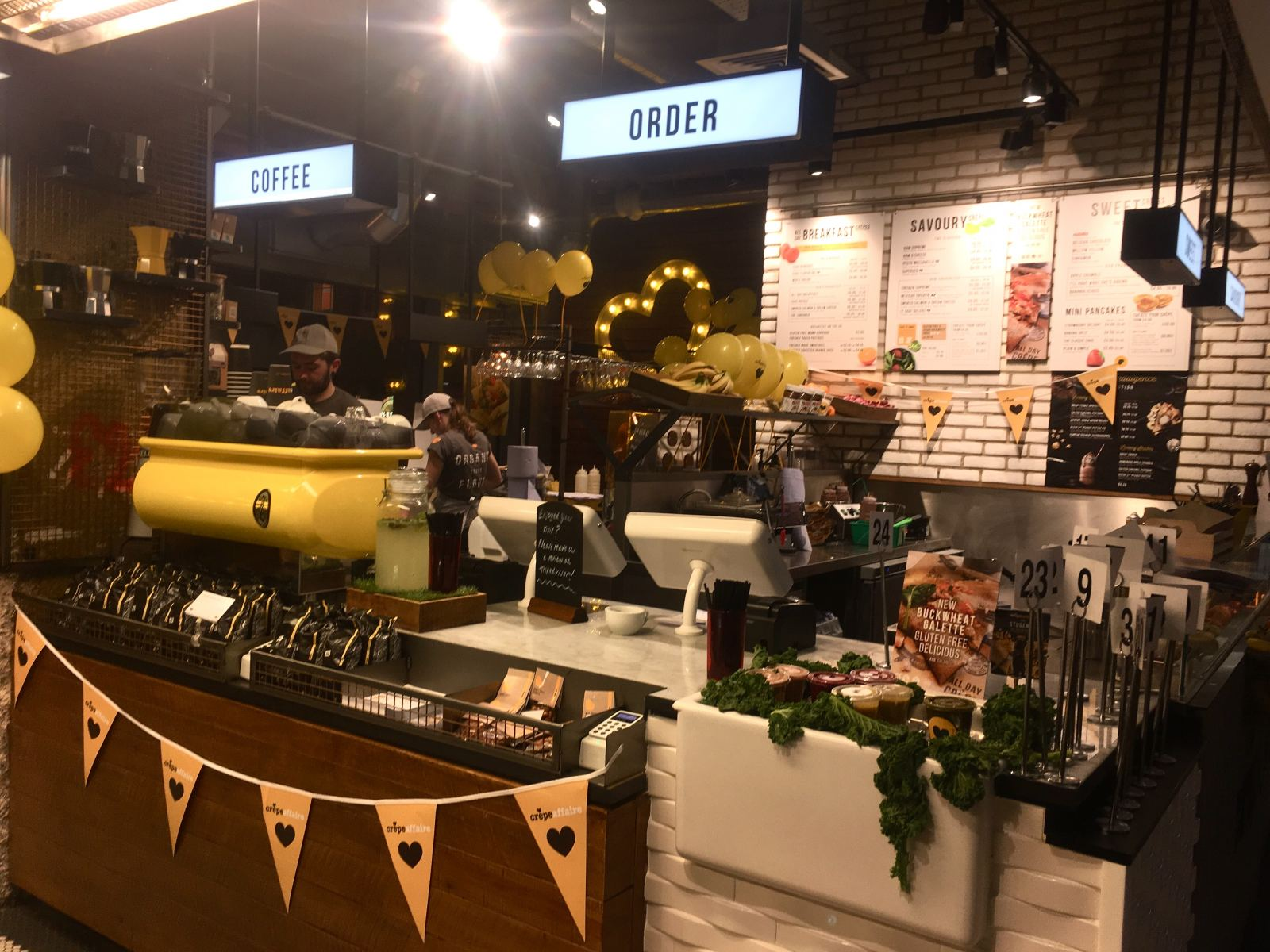 crêpeaffaire Newcastle Intu Eldon Square store front with bunting