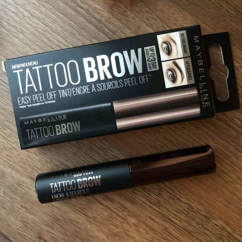 Product Shot of Maybelline Tattoo Brow box and product in shade Dark Brown