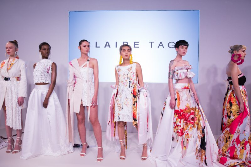 Group shot of 5 outfits at the Claire Tagg FW18 presentation at London Fashion Week