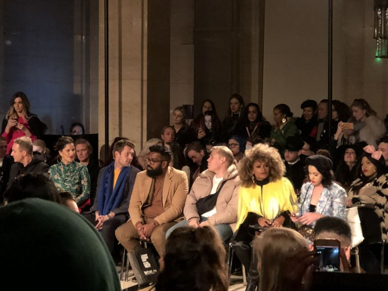 Malan Breton FW18 Fashion Scout London Fashion Week Fleur East, Rob beckett and Romesh Ranganathan on the front row
