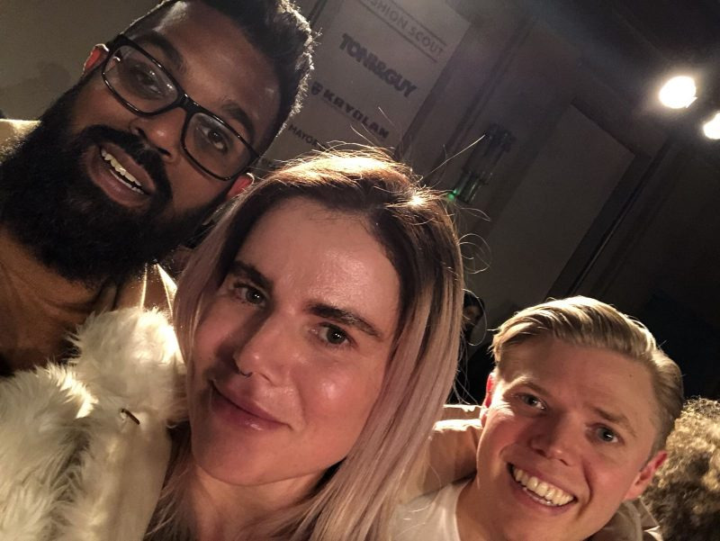Malan Breton FW18 Fashion Scout London Fashion Week Romesh Ranganathan, Pixie Tenenbaum & Rob Beckett