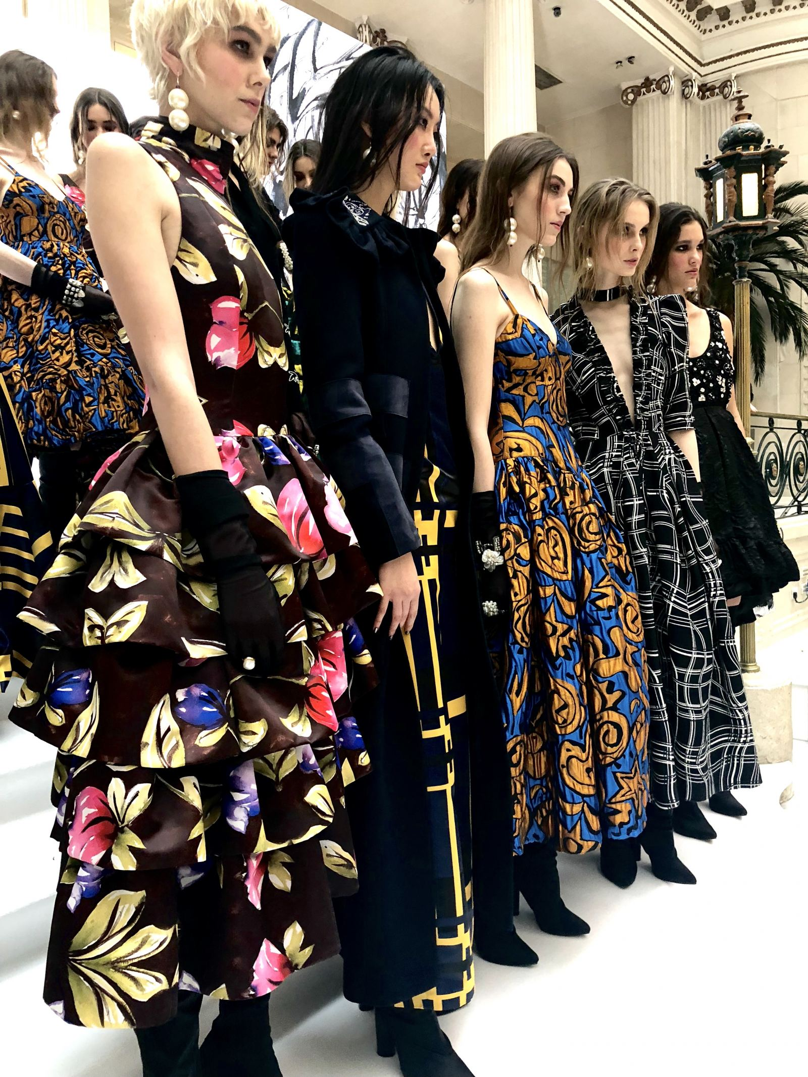 A group image of models at the Paul Costelloe FW18 show during London Fashion Week