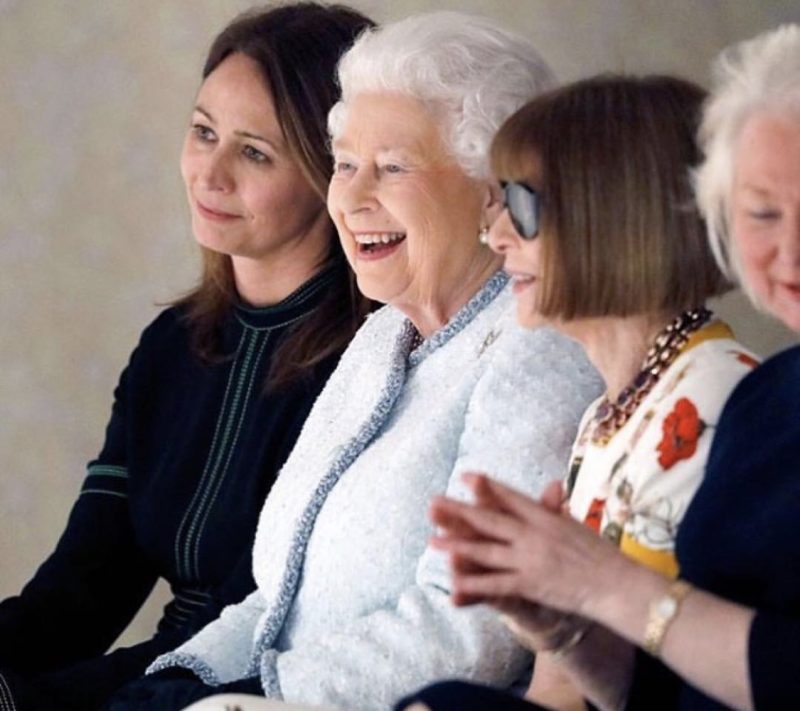 The Queen on the front row with Anna Wintour at Richard Quinn FW18 London Fashion Week