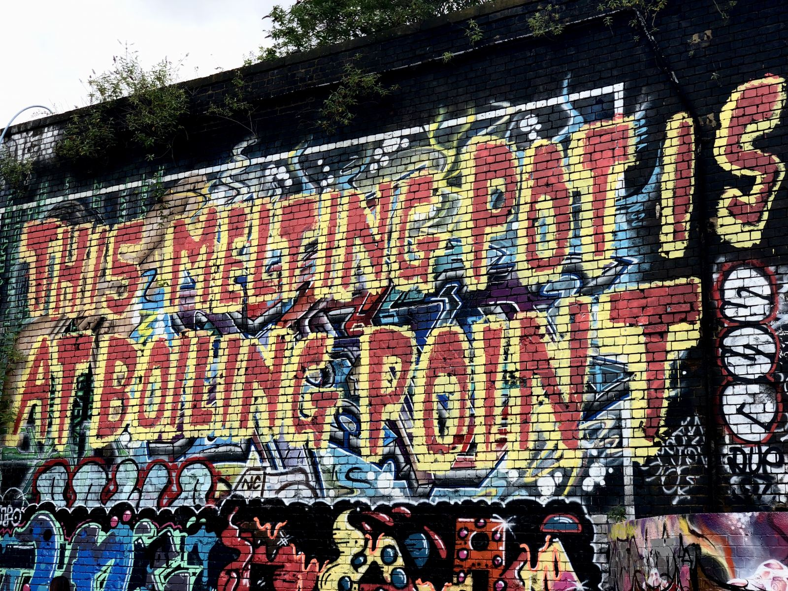 Shoreditch Street Art: This Melting Pot is at boiling Point street art on the Shoreditch overpass