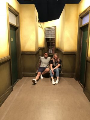 Comedy Central UK's Friends Fest 2018: Pixie Tenenbaum and her brother sitting on the step in the hallway between Monica'sd and Joey & Chandler's apartments