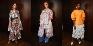 Teatum Jones SS19 LFW Fashion Voyeur Blog Round table not Runway three models posing separately in pieces from the spring summer collection