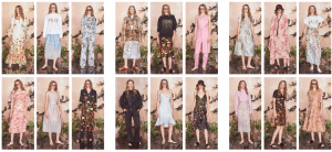 A collection of floral looks from the Malene oddershede Bach SS19 runway show and presentation at london Fashion Week as photographed by Chris Yates
