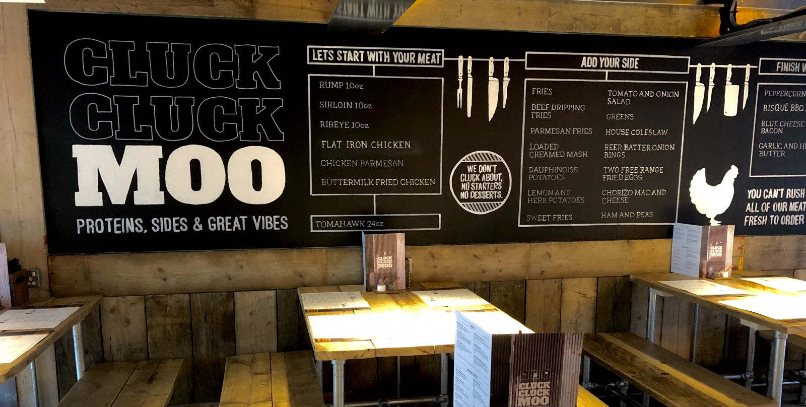 Cluck cluck Moo at STACK Newcastle Lead Image Menu Board